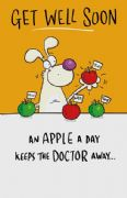 Humorous Apple a Day Get Well Soon Card